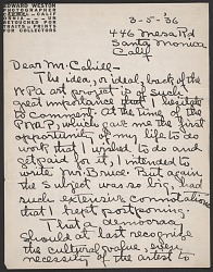 Edward Weston letter to Holger Cahill