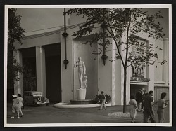 View of Gaetano Cecere's sculpture American Youth outside of the New York World's Fair Home Furnishings building