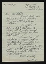 Polia Pillin, Los Angeles, California letter to unidentified art patron