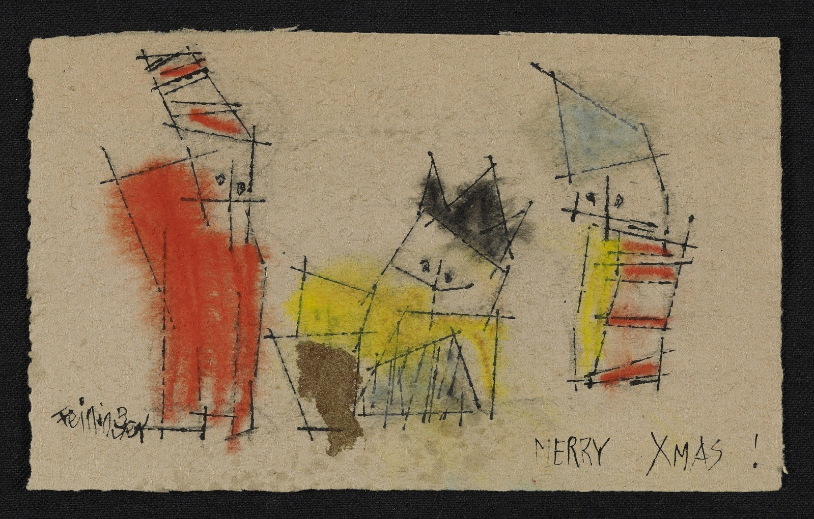 Resources :: Lyonel Feininger Christmas card to George Constant ...