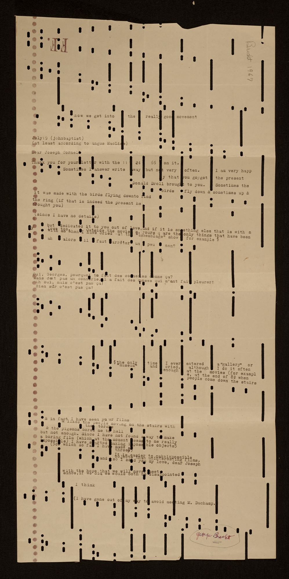 Image for George Brecht letter to Joseph Cornell