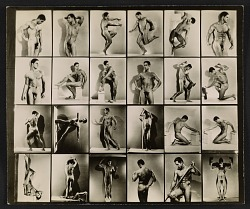 Contact sheet with photographs of artists' model Tony Sansone