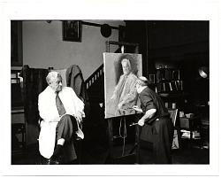 Peitro Pezzati painting a portrait of Lawrence Robbins