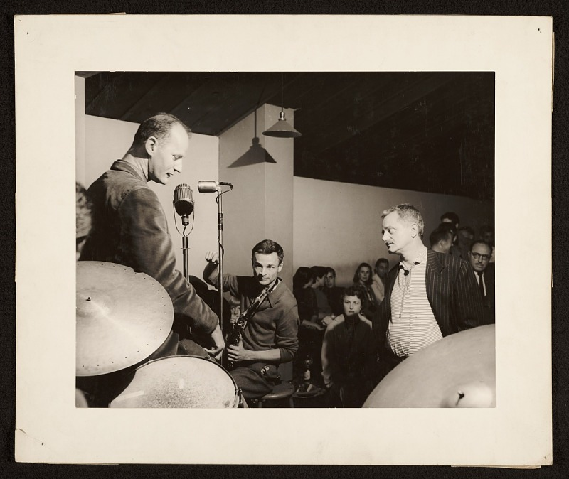 Image 1 for Lawrence Ferlinghetti, Bruce Lippincott, and Kenneth Rexroth performing at the Cellar
