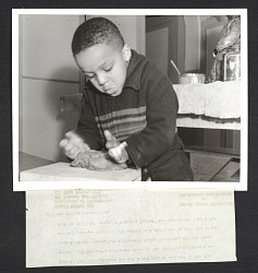 A young boy named William at one of the Federal Art Project's sculpture classes at the Brooklyn Children's Museum