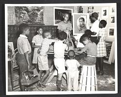 Children at a free Federal Art Project art class