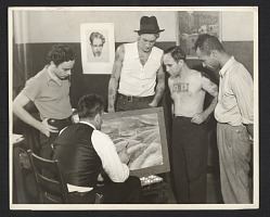 Members of the W.P.A. Federal Art Project art class at the Seamen's Institute.