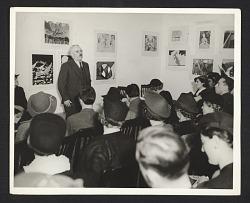 Holger Cahill speaking at the Harlem Community Art Center