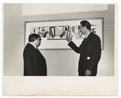 Arshile Gorky and Fiorello La Guardia at the opening of the Federal Art Gallery