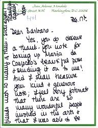Joan Adams Mondale letter to Barbara Fendrick