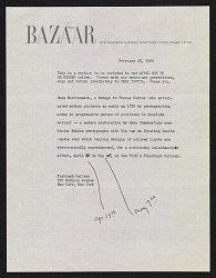 Harper's Bazaar memorandum about the exhibit Nude environment