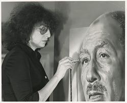 Audrey Flack painting a portrait of Anwar Sadat
