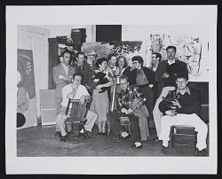 Photograph of artists in Richard Brodney's studio