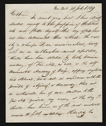 John Henri Isaac Browere, New York, N.Y. letter to unidentified recipient, New York, N.Y.