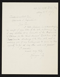 Kenyon Cox, New York, N.Y. letter to Charles Henry Hart, New York, N.Y.