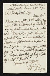 William Page, New York, N.Y. letter to Charles Henry Hart, New York, N.Y.