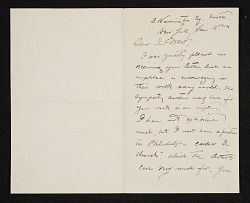 Walter Shirlaw, New York, N.Y. letter to Charles Henry Hart, New York, N.Y.