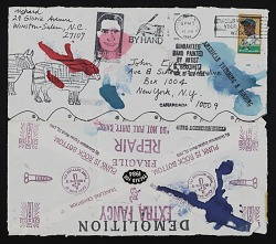 Mail art collaboration sent to John Evans