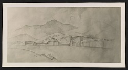 Photograph of a drawing of the Meem Museum and Henderson Hogan