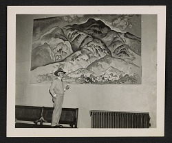 William Penhallow Henderson observing the installation of one of his murals in the Federal Court Building in Santa Fe, New Mexico