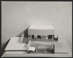 Model of a school in Attleboro, Mass., complete with mock-up of a mural by Robert Motherwell