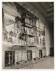 Leon Kroll painting a mural in the Worcester Memorial Auditorium