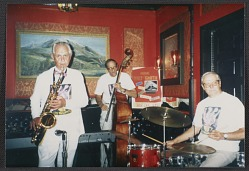 Jazz musicians at Sopris (Colorado) Restaurant. John Powers on left (sax)