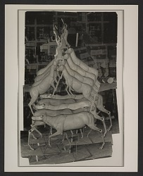 Photocollage of model for Bruce Nauman's 'Animal Pyramid II'