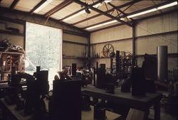 The interior, looking towards the doors, of Liberman's studio