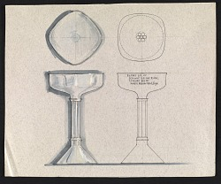 John Marshall sketch of an inscribed silver goblet