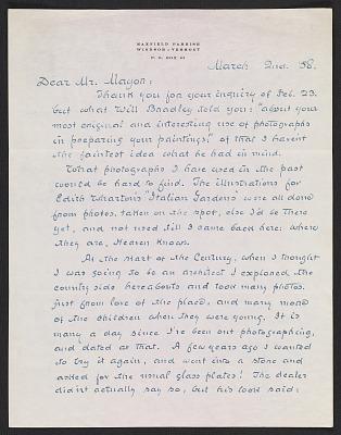 Maxfield Parrish letter to A. Hyatt (Alpheus Hyatt) Mayor