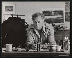 Photograph of Michael Mazur in printmaking studio