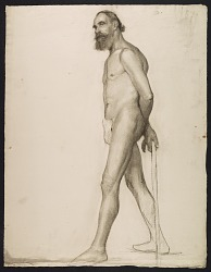 Sketch of an artists' model with a cane