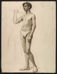 Sketch of an artists' model holding a rope for support