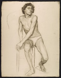 Sketch of an artists' model seated on a stool