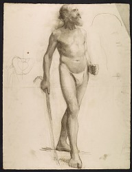Sketch of an artists' model using a cane for support