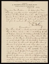 George Whitney, Philadelphia, Pa. letter to Henry Hill Collins