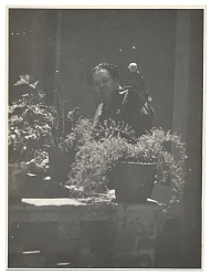 Diego Rivera in his courtyard