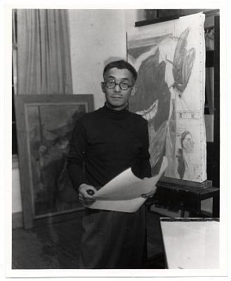 Yasuo Kuniyoshi in his studio