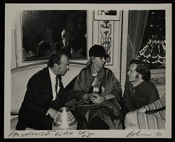 Louise Nevelson and Robert Indiana at a party