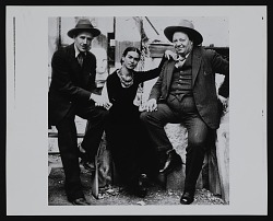 Photograph of Ralph Stackpole with Diego Rivera and Frida Kahlo