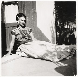 Photograph of Frida Kahlo at her home in Coyoacan, Mexico