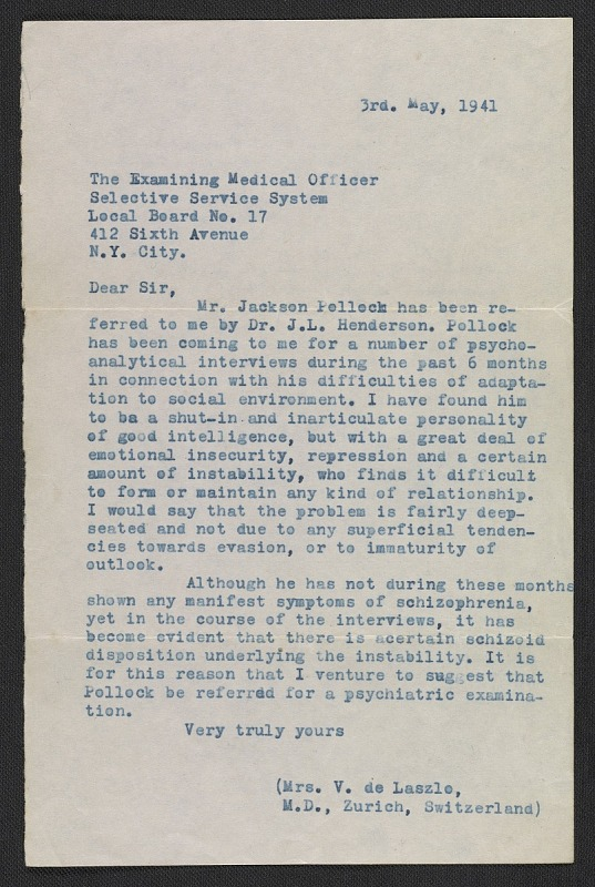 dr violet staub de laszlo letter to the examining medical officer of the selective service system