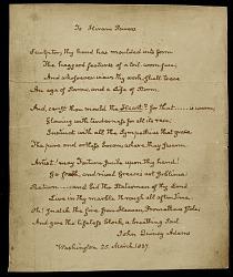 Copy of a John Quincy Adams poem to Hiram Powers