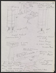 George Nakashima annotated sketches of furniture designs