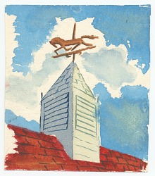 Red Roof with Weathervane