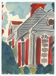Gray building with red shutters