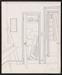 Drawing of Emilio Sanchez's New York studio