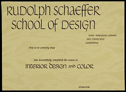 Rudolph Schaeffer School of Design certificate of completion for course in interior design and color