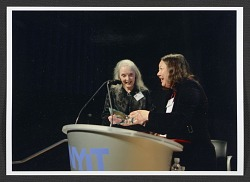 Joan Semmel receiving the Women's Caucus for Art Award for Lifetime Achievement in the Visual Arts